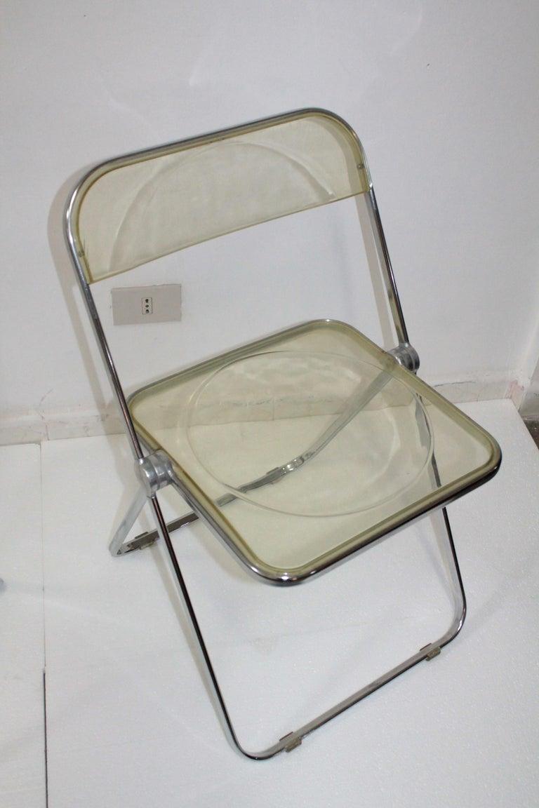 Yellow Plia Folding Chairs by Giancarlo Piretti for Castelli, 1967 For Sale 1