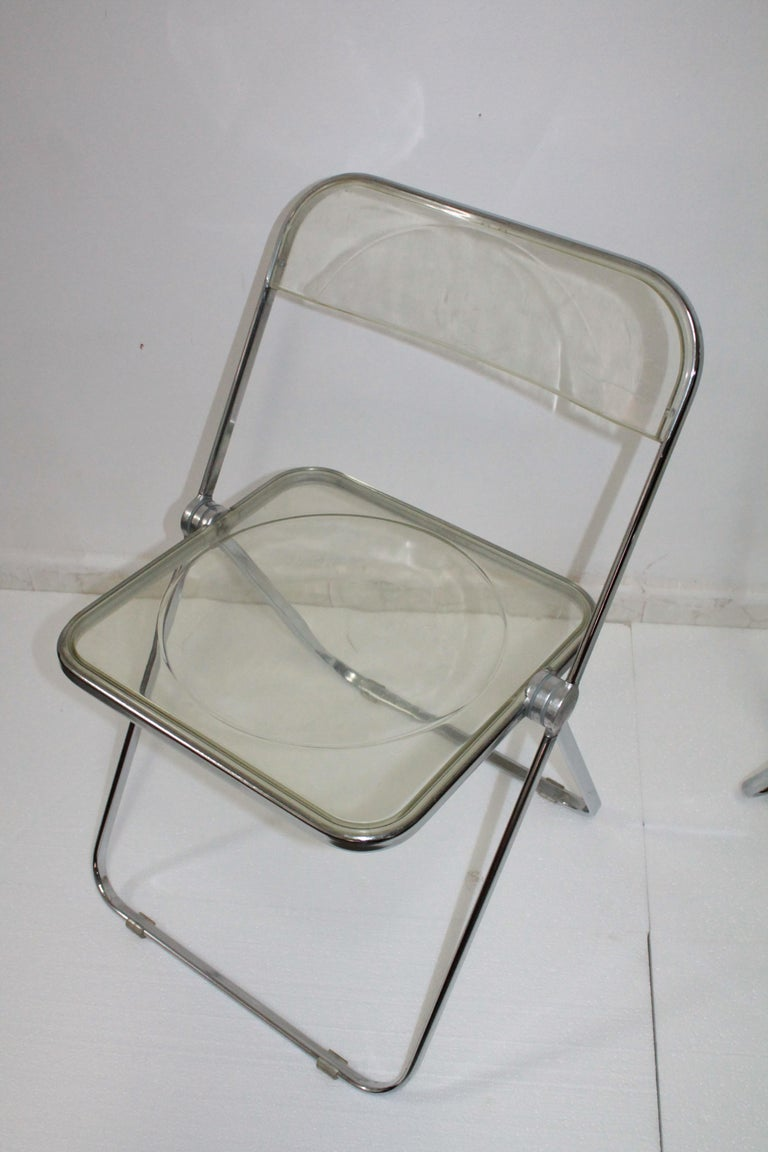 Yellow Plia Folding Chairs by Giancarlo Piretti for Castelli, 1967 For Sale 2