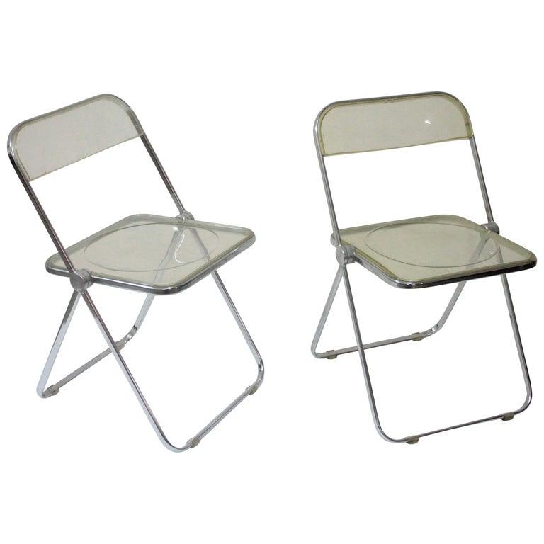 Yellow Plia Folding Chairs by Giancarlo Piretti for Castelli, 1967 For Sale