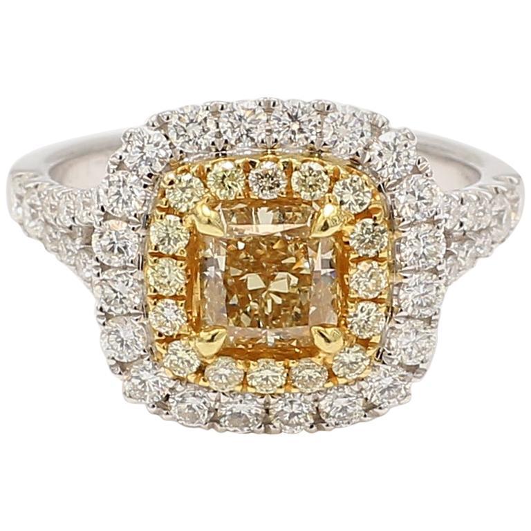 Natural Yellow 1.10 Carat Center Radiant & White Diamond 2.06 total carats Ring