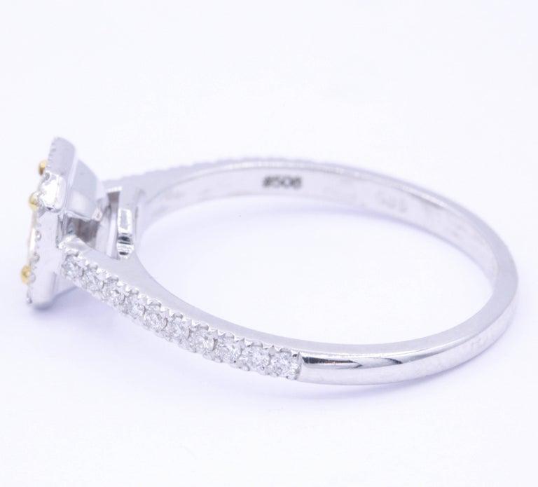Modern Yellow Radiant Diamond Halo Engagement Ring