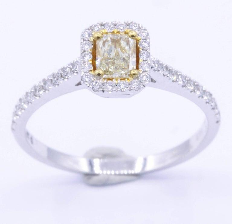 Yellow Radiant Diamond Halo Engagement Ring 1