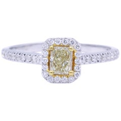 Yellow Radiant Diamond Halo Engagement Ring