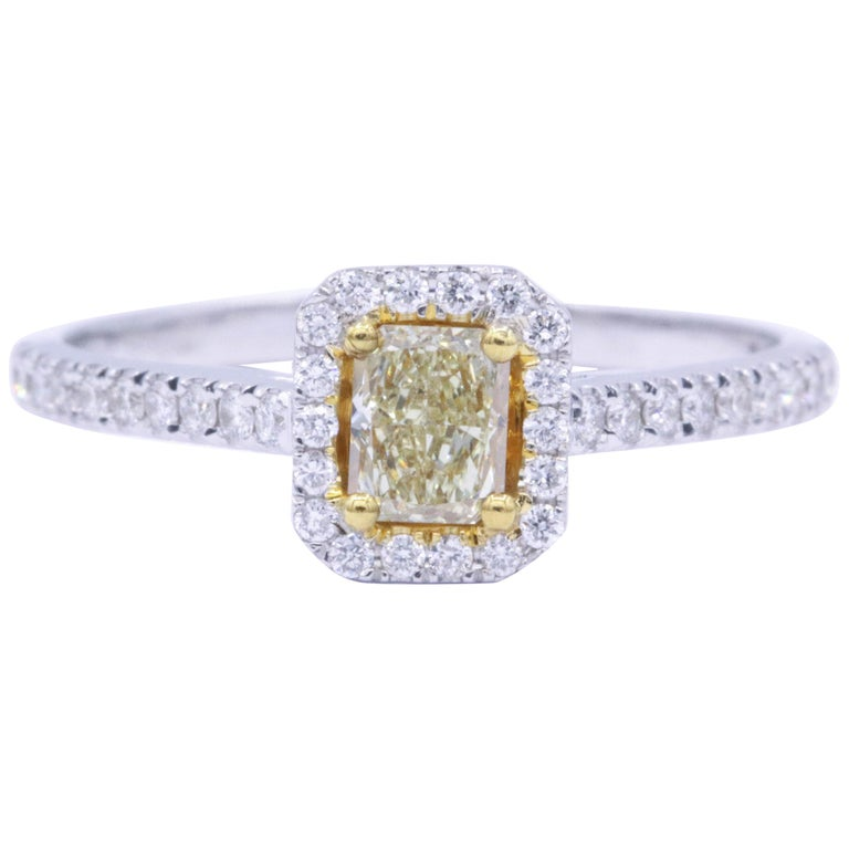 Yellow Radiant Diamond Halo Engagement Ring