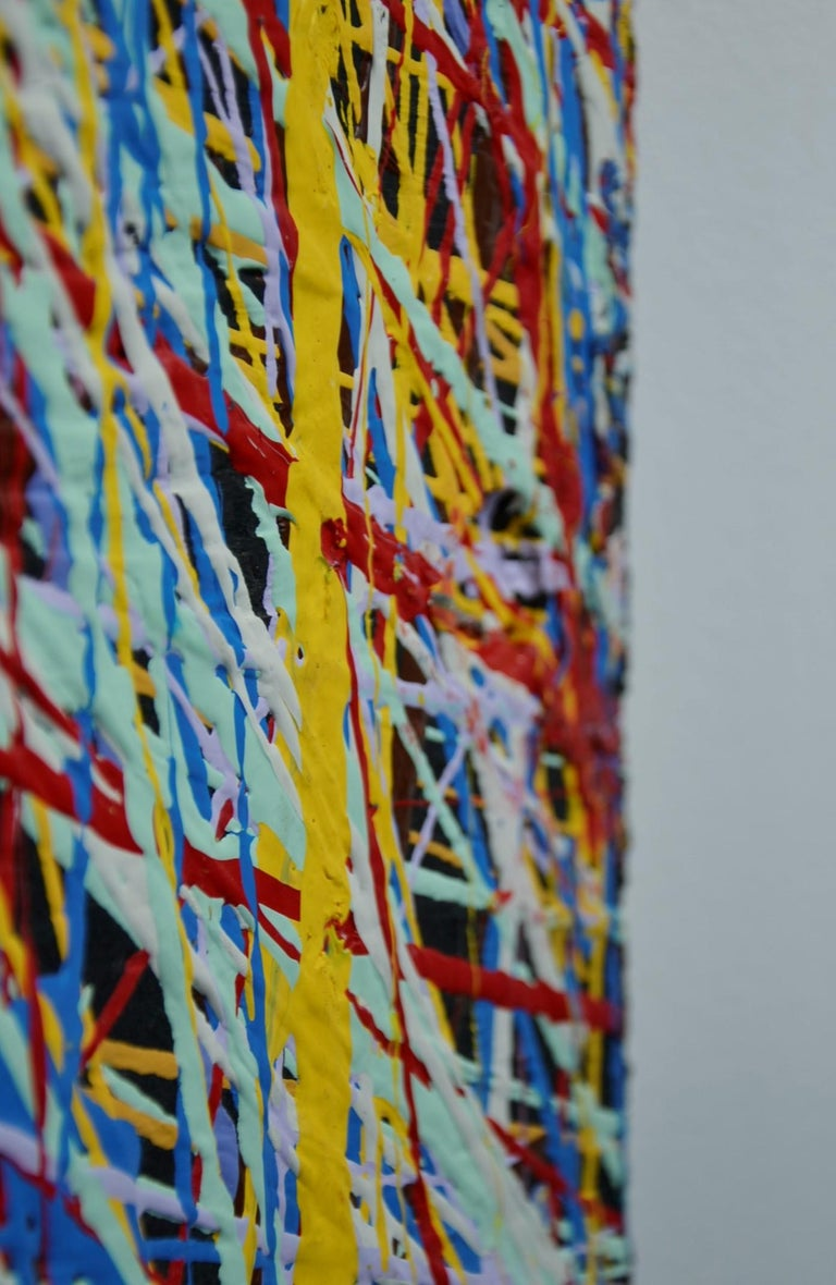 Pollock Style Yellow, Red, Blue & Black Splatter Abstract Oil Painting on Wood For Sale 4