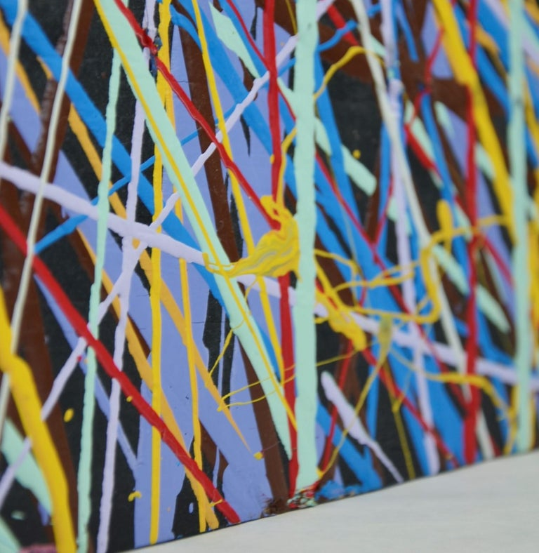 Pollock Style Yellow, Red, Blue & Black Splatter Abstract Oil Painting on Wood For Sale 11