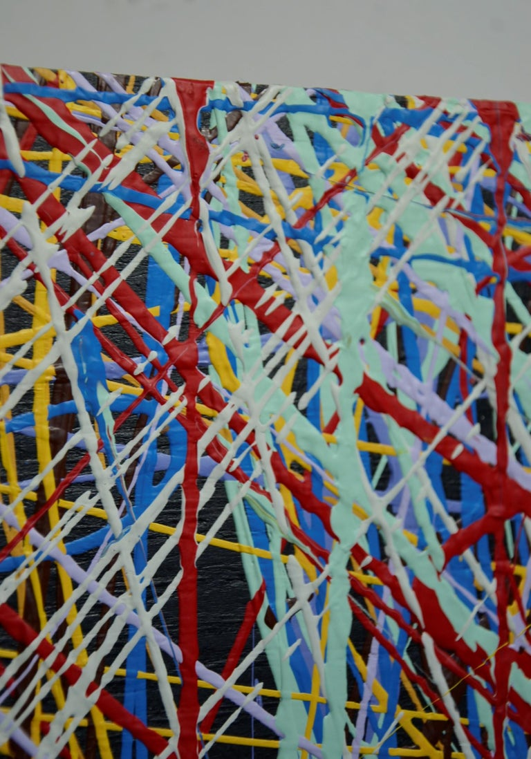 Pollock Style Yellow, Red, Blue & Black Splatter Abstract Oil Painting on Wood For Sale 5