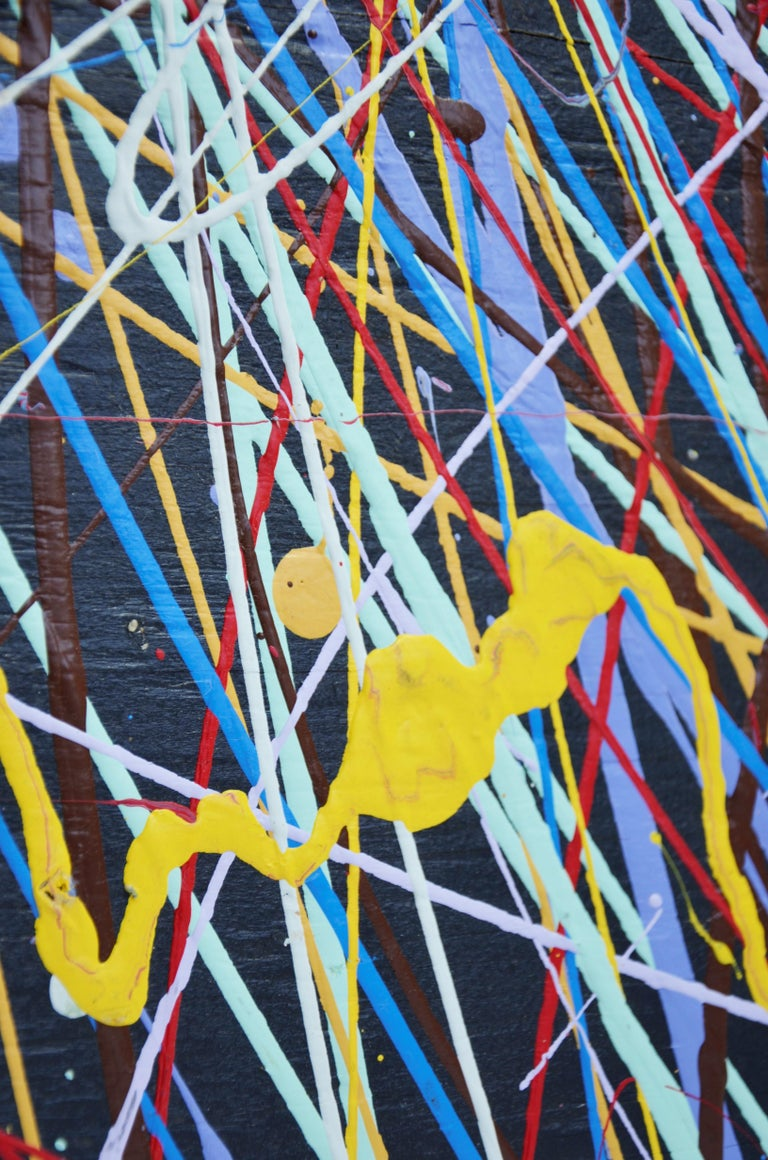 Pollock Style Yellow, Red, Blue & Black Splatter Abstract Oil Painting on Wood For Sale 6