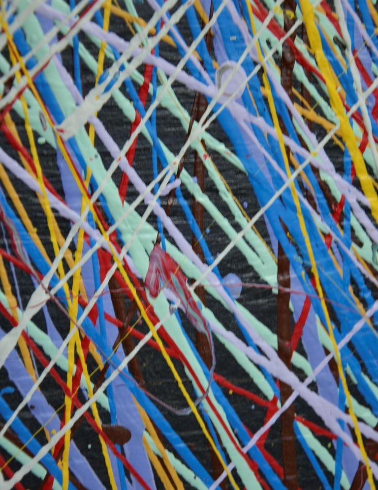 Pollock Style Yellow, Red, Blue & Black Splatter Abstract Oil Painting on Wood For Sale 8
