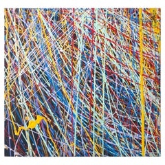 Yellow, Red, Blue and Black Splatter Abstract Expressionist Oil Painting on Wood