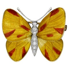 Yellow & Red Enamel and Diamond Butterfly Brooch by Boucheron Prov. Earl Mountba