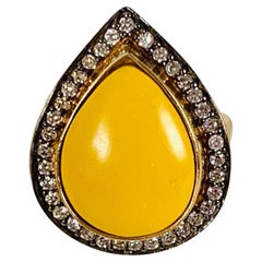 Yellow Resin Cubic Zircon Ring
