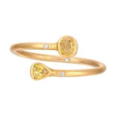 Yellow Rosecut Diamond Wrap Ring in 18k Matte Yellow Gold