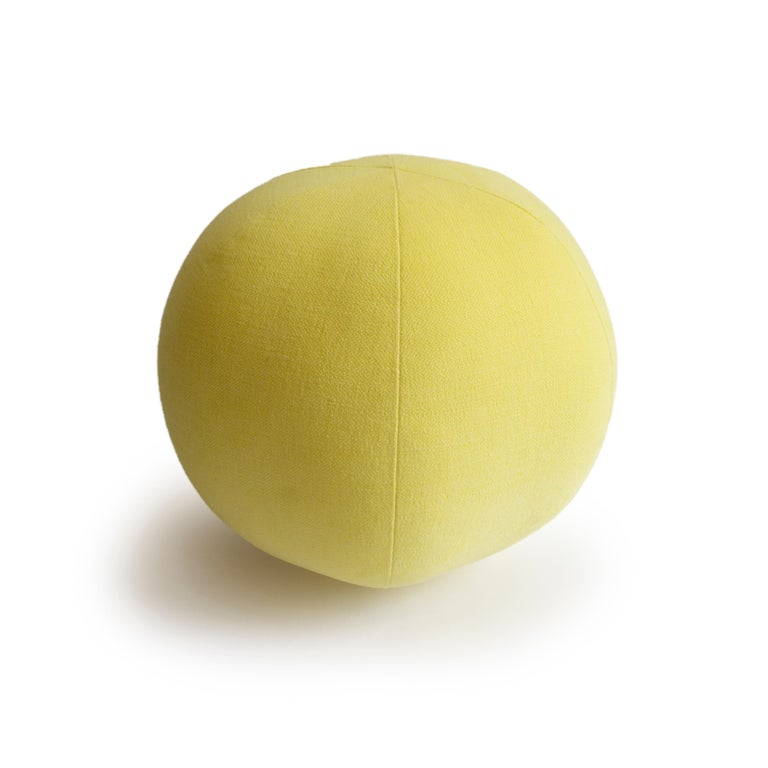 Modern Yellow Round Ball Throw Pillow For Sale
