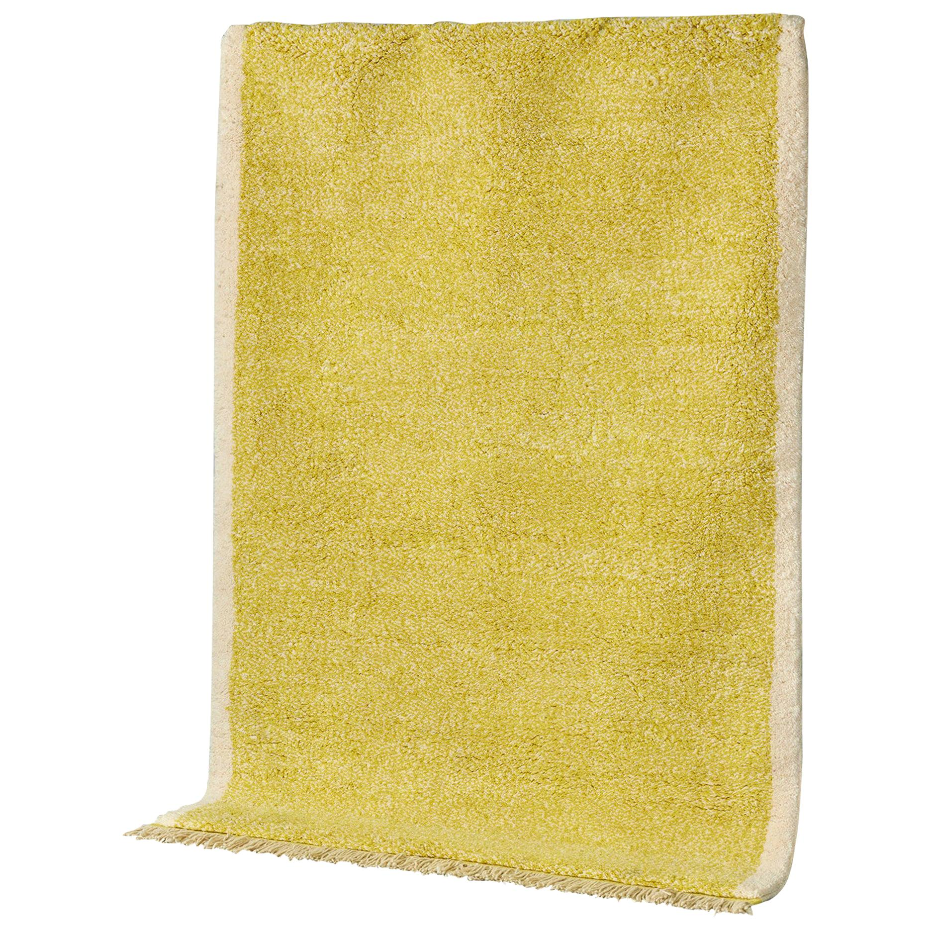 Yellow Rug in Moroccan Hand Knotted Wool by Julie Richoz