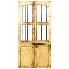 Yellow Salvaged Teak Jali Door, 20th Century