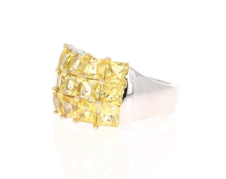 Contemporary Yellow Sapphire 14 Karat White Gold Ring For Sale