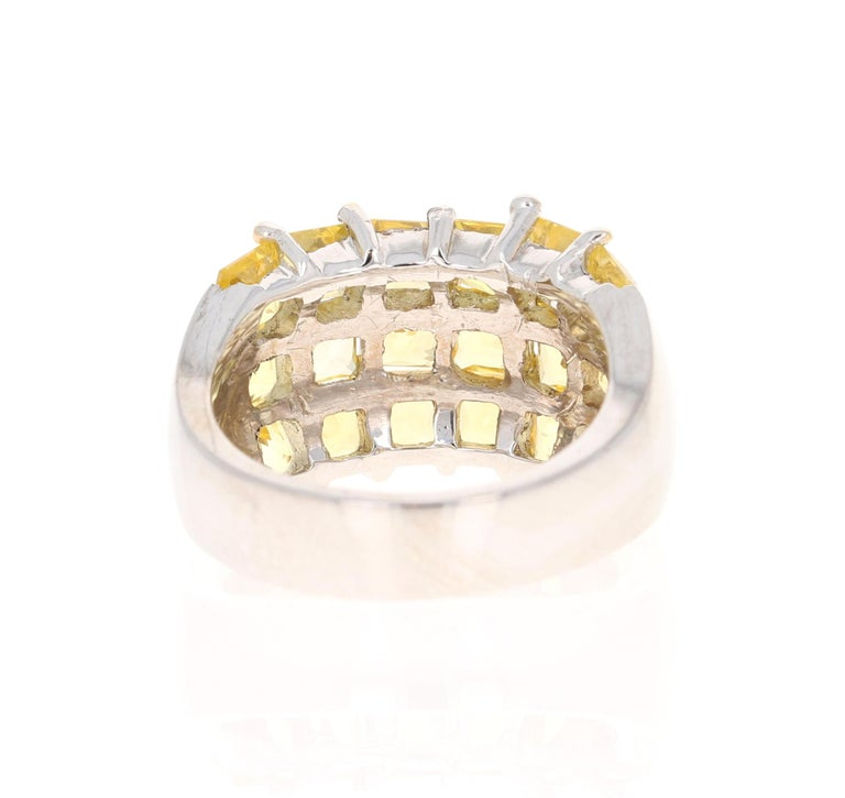 Square Cut Yellow Sapphire 14 Karat White Gold Ring For Sale