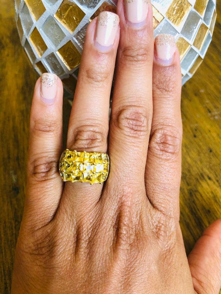 Women's Yellow Sapphire 14 Karat White Gold Ring For Sale