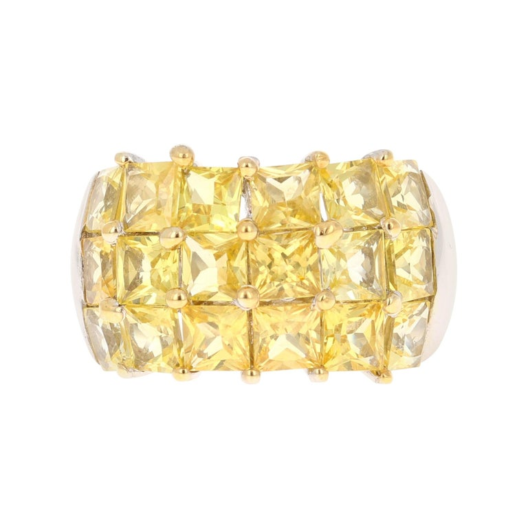 Yellow Sapphire 14 Karat White Gold Ring For Sale