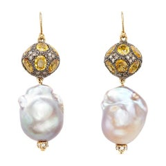 15 Carat Yellow Sapphire Ball and Freshwater Baroque Pearl Earrings