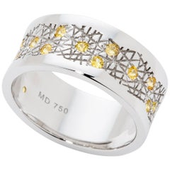Yellow Sapphire 18 Karat White Gold Band Ring