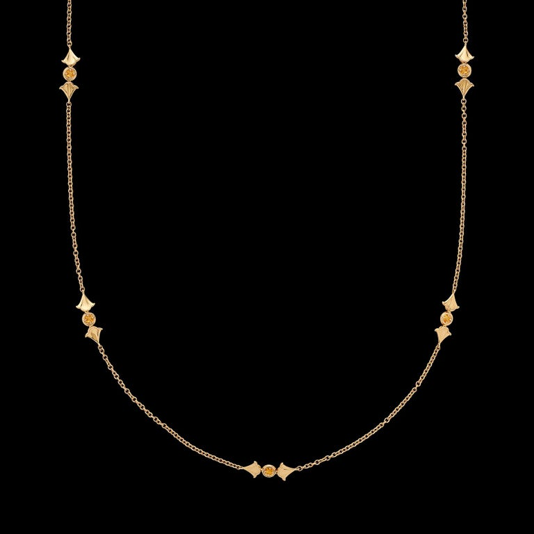 Women's Yellow Sapphire and 18 Karat Gold Necklace by Marina B. For Sale