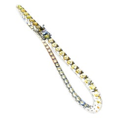 Yellow Sapphire 4.42 Carats in 18kt White Gold Corone Tennis Bracelet
