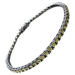 4.77 Carat Yellow Sapphire Black Gold Corone Tennis Bracelet
