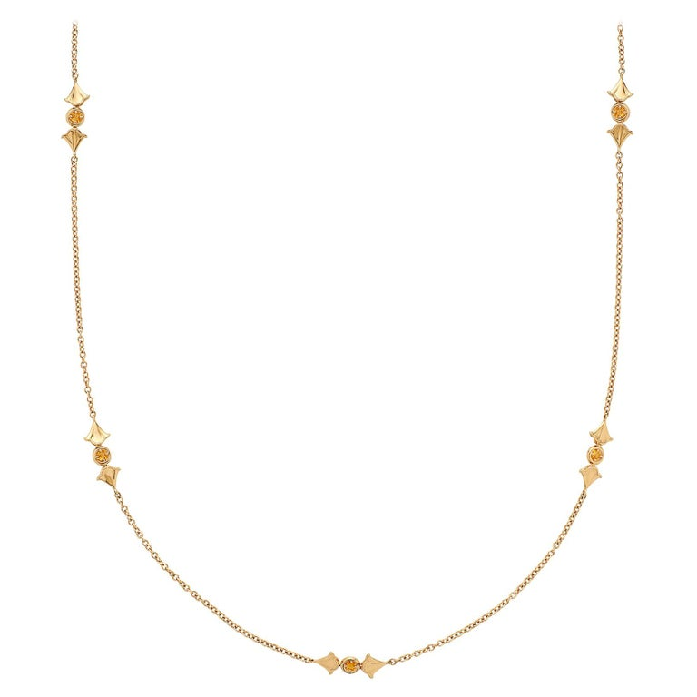 Yellow Sapphire and 18 Karat Gold Necklace by Marina B. For Sale