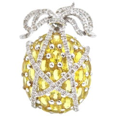Yellow Sapphire and Diamond Clustered Pineapple Gold Pendant and Brooch Pin