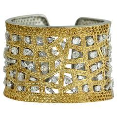 Yellow Sapphire and Diamond Cuff Bracelet