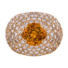 Yellow Sapphire and Diamond Dome Ring