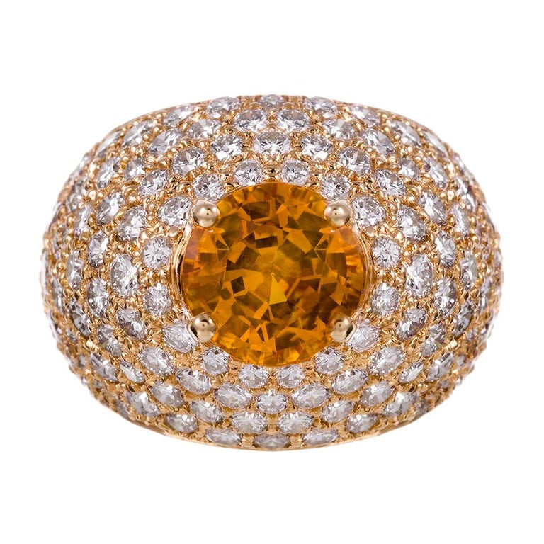 Yellow Sapphire and Diamond Dome Ring For Sale