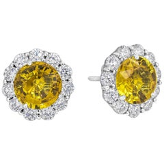 Yellow Sapphire and Diamond Halo Stud Earrings