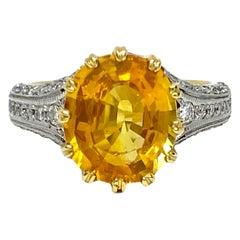 Yellow Sapphire and Diamond Platinum Handmade Ring