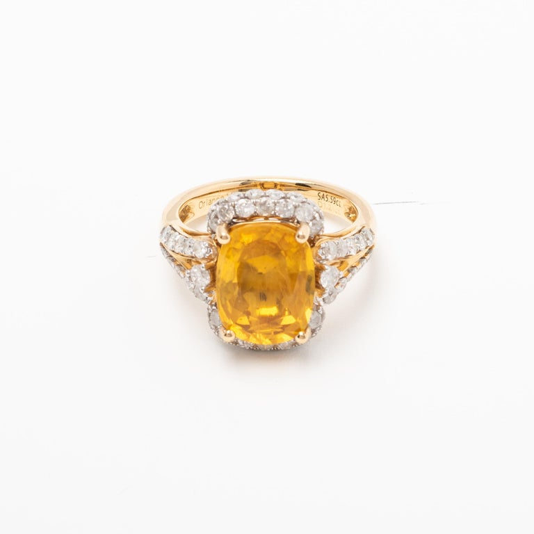 Women's or Men's Yellow Sapphire and Diamond Ring For Sale