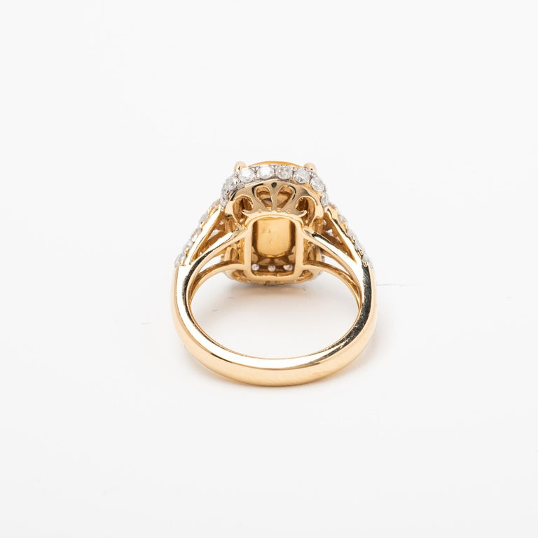Yellow Sapphire and Diamond Ring For Sale 1