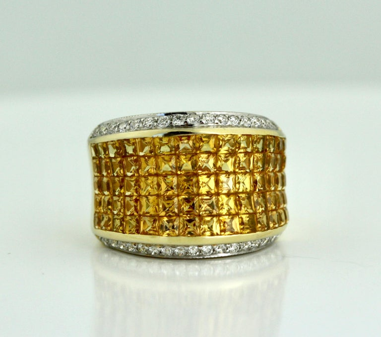Yellow Sapphire and Diamond Ring For Sale 2