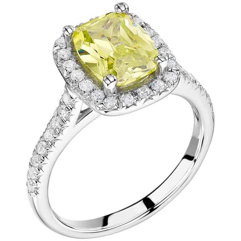Yellow Sapphire and Diamond Ring For Sale