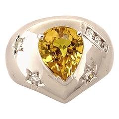 Yellow Sapphire and Diamond Ring in 18 Karat White Gold