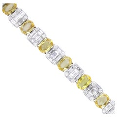Yellow Sapphire and Diamond Tennis Bracelet