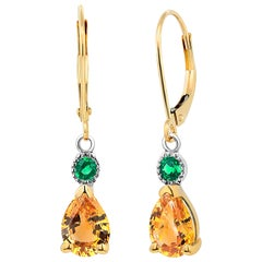 Yellow Sapphire and Emerald Drop Hoop Gold Earrings