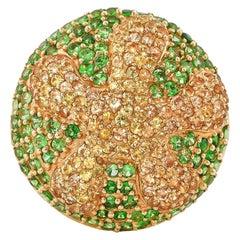 Yellow Sapphire and Tsavorite Ring in 14 Karat Yellow Gold