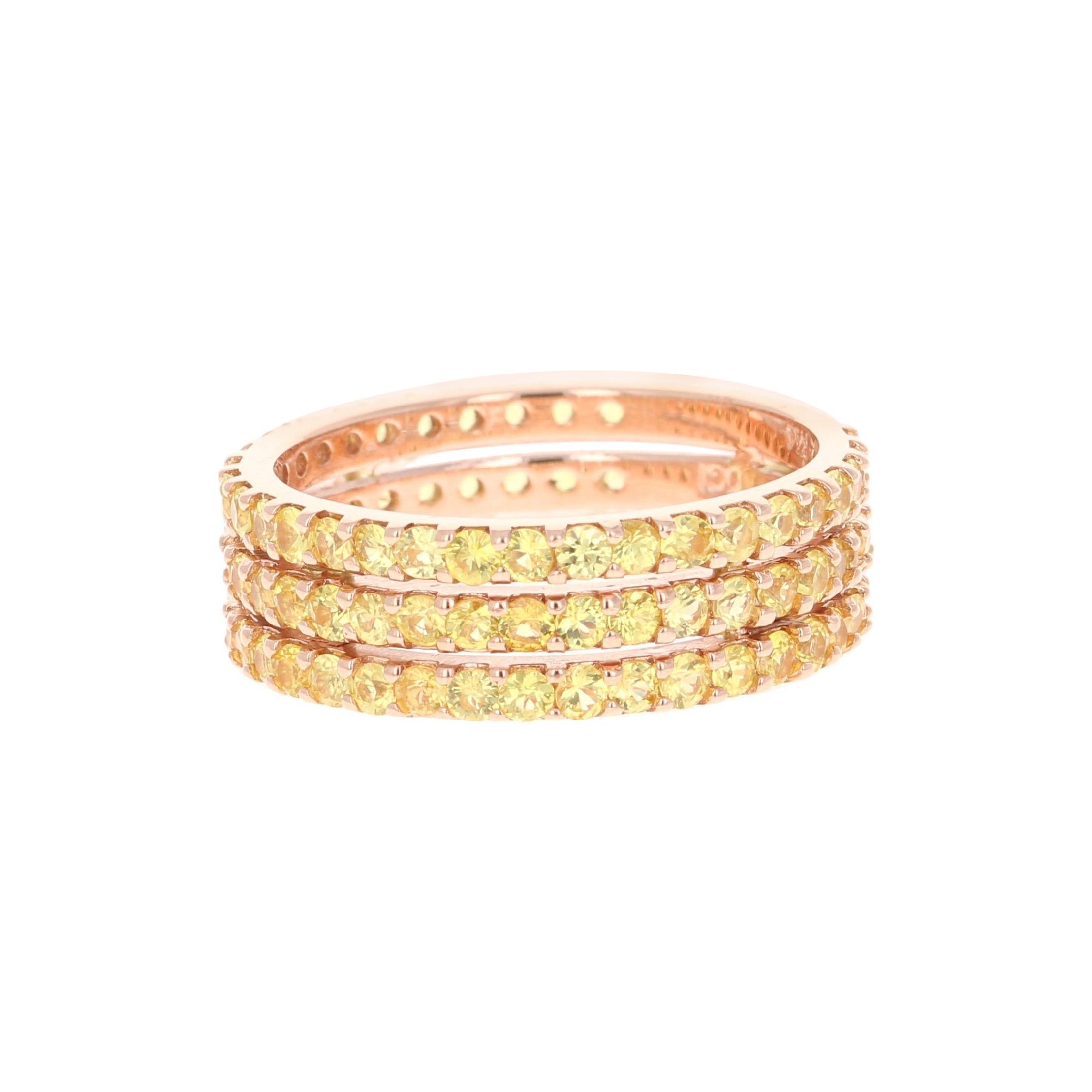 Yellow Sapphire Band 14 Karat Rose Gold