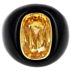 Yellow Sapphire Black Jade and 18 Karat Yellow Gold Ring