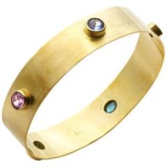 Multi Gemstone and 18 Karat Gold Bangle - Large