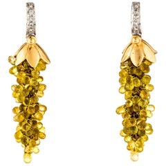 Yellow Sapphire Chandelier Earrings with Diamonds, 14 Karat Gold
