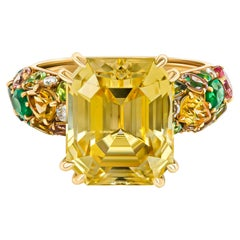Yellow Sapphire Cocktail Ring, 18k Yellow Gold Yellow Sapphire Tsavorites Ring