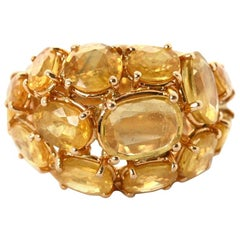 Yellow Sapphire Cushion 18 Karat Gold Dome Cluster Ring